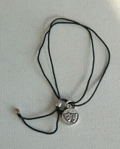 Silver Tone Black Cord Alex and Ani Happy Sad Theater Mask Bracelet
