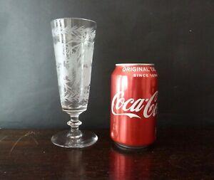 Antique Crystal  Beer Cider Glass Flute with Etched Hops and Barley,h17,4cm