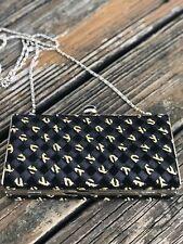 Timmy Woods Beverly Hills Black Gold Purse Bag Braided Ribbon Clutch Handbag