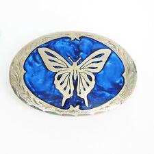AWARD DESIGN SILVERSMITH Show BELT BUCKLE Silver Butterfly Blue Enamel Hand Made