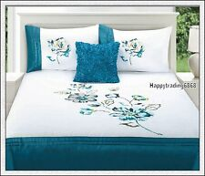 280TC White Turquoise Pintuck Flower Embroidered 3pc QUEEN QUILT DOONA COVER SET