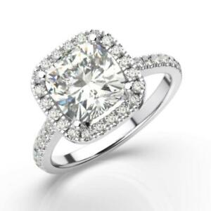 2.5 CT Real Diamond Engagement Ring Excellent 14k White Gold Cushion Cut D VS1