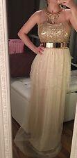Tally Weijl Chiffon Kleid Abendkleid Nude Champagner Gold Pailletten XS/S 34/36