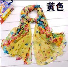 Yellow Women's Long Fashion Soft Cotton blend Shawl Flower Wraps Scarf Scarves