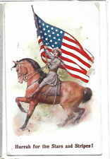 Patriotic Greeting Postcard E Mack J Salmon 1427 Flag Lady on horseback