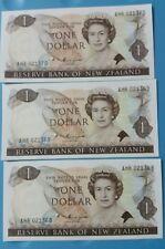 1985 - 89 New Zealand  1 Dollar 3 Pcs Running UNC <P-169b> Russell Signature