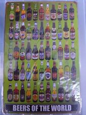 Beers Of The World Tin Metal Sign Painted Poster Wall Art Garage Playroom Shop