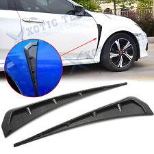 Carbon Fiber Texture Front Fender Side Vent Cover Trim For Honda Civic 2016-2020
