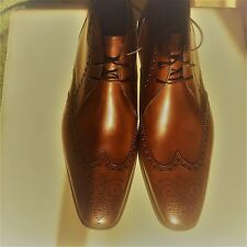 NEW MAGNANNI SAKS 5 AVE LEATHER BROGUE ANKLE BOOTS MEN ITALY 11