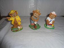 (3) Danbury Mint - Calendar / Month Collectible Bears - April - May - June