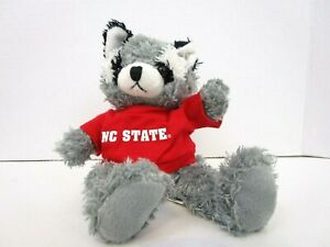 """It's All Greek To Me NC State 8"""" Plush Gray Black Racoon Cute Cuddly Stuffed"""