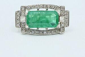 2.50 ct NATURAL DIAMOND & columbian EMERALD halo ring SOLID 14k white GOLD