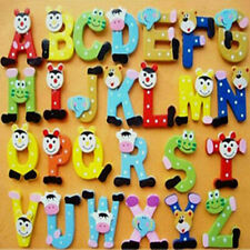 Funky Colourful Wooden Fridge Magnet Magnetic Toys Numbers Alphabet Letters