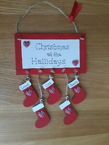 FAMILY PERSONALISED CHRISTMAS  STOCKING HANGING PLAQUE. FAMILY NAME SIGN 5 names