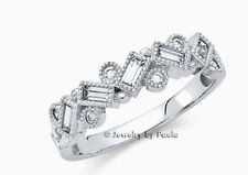 0.75 Ct Diamond Solid 14K White Gold Band Ring Baguette and Round Shaped
