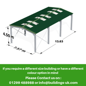 Steel Framed Kit Building 45ft x 25ft x 15ft - Frame, Roof & Gutters