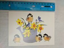 Blank Note Card Chickadees & Daffodils in Watering Can by Valerie Pfeiffer