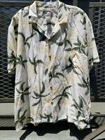 Paradise Found HTF Rayon XL Hawaiian Shirt Palm Trees Aloha Camp EUC Vintage