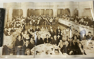 Vintage 1940 Silvercup Bread Employee Banquet Large Group Photo Hotel Edison NY