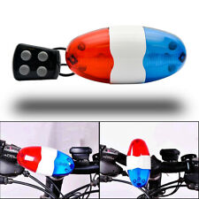 Bike Bicycle 4 Sounds Police Siren Trumpet Horn Bell 6 LED Red Blue Rear Light