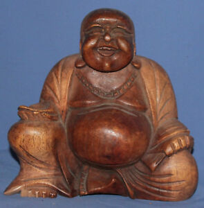 Vintage hand carved wood laughing Buddha Budai statuette