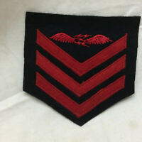 Vintage US Navy Chevron Military Badge Patch Wings 3 Red Stripes