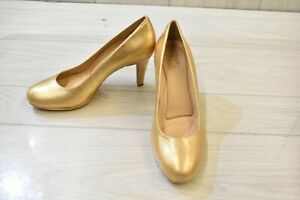 Naturalizer Michelle Round Toe Leather Pumps, Women's Size 8.5 N, Gold NEW