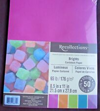 """NEW ~RECOLLECTIONS ~ CARDSTOCK PAPER ~ 8.5"""" X 11"""" ~ BRIGHTS ~ 50 SHEETS~1+ SHIP"""