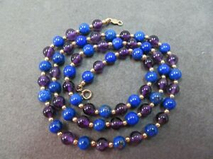 "14k Vintage Lapis & Amethyst Beads Necklace 17.75"" /13 Gram"