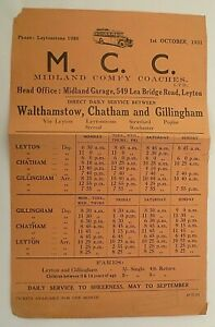 MIDLAND COMFY COACHES OCTOBER 1931 ~ WALTHAMSTOW TO GILLINGHAM SERVICES T/T