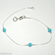 Sterling Silver 925 Chain and 4mm Turquoise Beads BRACELET - Made to your Size