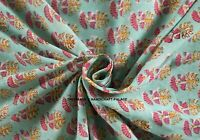 10 Yards Block Printed Floral Cotton Dress Making Fabric Indian Home Decor Sew