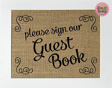 """5x7 Burlap Sign """"Please Sign Our Guest Book"""" Rustic Wedding Reception Decor Chic"""