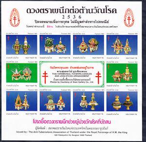 Thailand 2536(1993) Anti-TBC sheet Thai Cerem. Flowers, Candels and Joss-Sticks