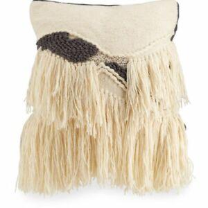 Cloud 9 Design Pillow Wool Blend Boho 20 in x 20 in Beaded Feather Down Tassels