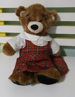 Build-A-Bear TEDDY BEAR BAB Soft Plush Toy 40cm Tall! BROWN BEREMY PLAID DRESS