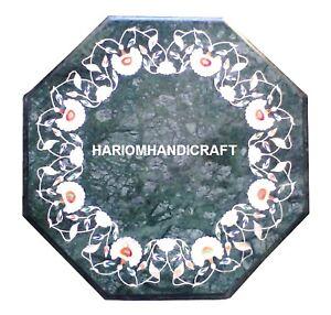 "12"" Marble Coffee Corner Table Top Semi Stone Inlay Hallway Decor Gifts H2022"