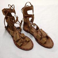 ZARA Tan Lace Up Flat Leather Fringe Gladiator Sandals UK 7 Euro 40