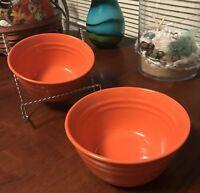 LOT Set 2 Rachel Ray Double Ridge ORANGE Stoneware Soup Cereal Bowls BRAND NEW=D