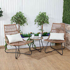 Polynesian Rattan Bistro Outdoor Garden Table & Chairs Set with Cushions