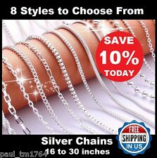 Necklace Chains 925 Sterling Silver - 8 Styles - Figaro, Curb, Box, Snake & More