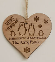 PERSONALISED FAMILY CHRISTMAS DECORATION TREE BAUBLE PENGUIN MUMMY DADDY KIDS