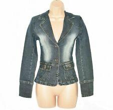 Women's Vintage KARMA Stretch Fitted Blue Denim Jean Blazer Jacket Size S