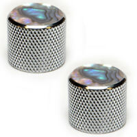 Chrome and Pearloid Knurled Metal Replacement Knobs for Electric Guitar - 2 Pack