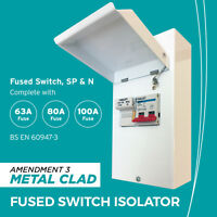 METAL FUSED SWITCH ISOLATOR 63A / 80A / 100A FUSE ENCLOSURE 100A MAINS ISOLATOR