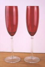 2 Fostoria Ruby Red Fluted Champagne Glasses Clear Straight Ribbed Stem Wafer