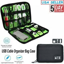 Electronic Accessories Storage USB Cable Organizer Bag Case Data Travel Insert..