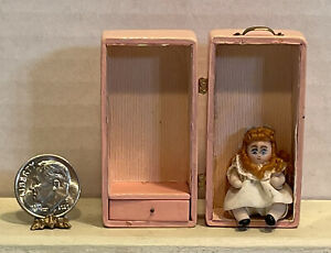 Vintage Artist Tiny Jointed Porcelain Doll & Pink Trunk Dollhouse Miniature 1:12