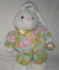 COMMONWEALTH LARGE STUFFED PLUSH EASTER BUNNY RABBIT WHITE FLORAL CLOTH PASTEL