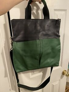 mens coach cross body bag Messenger Tote. Navy And Green.  New
